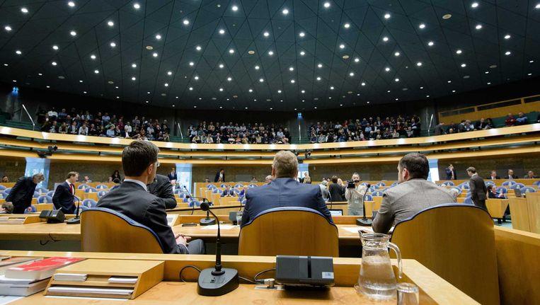 Premier Rutte, minister Van der Steur en staatssecretaris Dijkhoff in de Kamer bij het debat over de Teevendeal. Beeld anp