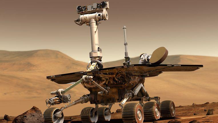 Illustratie van de NASA rover Opportunity op Mars. Opportunity landde op 24 januari 2004 op de planeet. Beeld ap