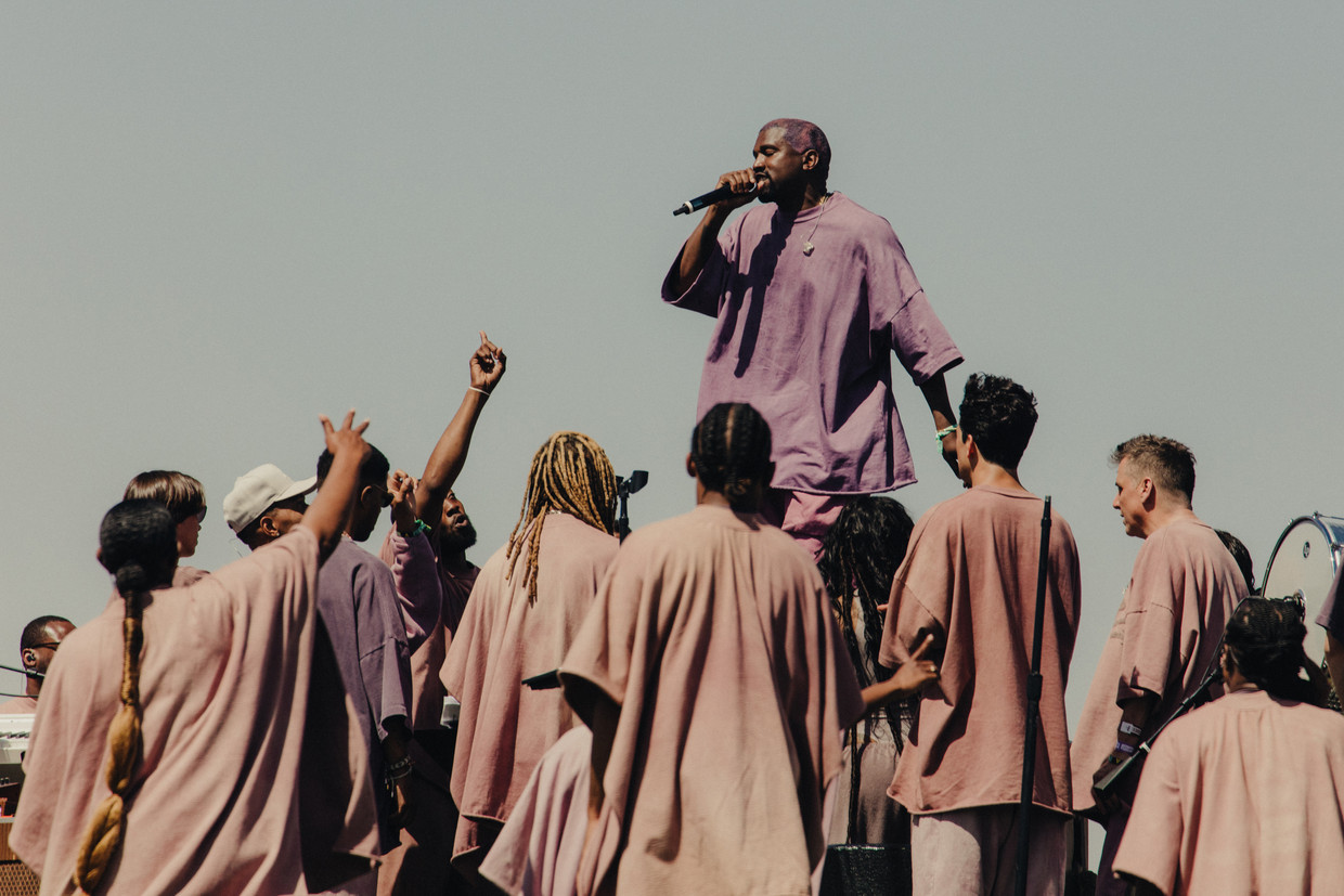 Kanye West op het  Coachella Valley Music and Arts Festival in Indio, Californië, vorige week. Beeld NYT