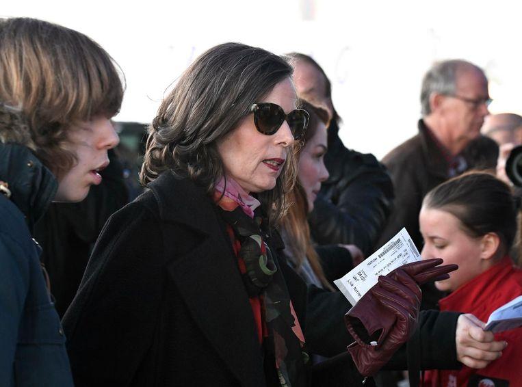 Lid van de Zweedse Academie Sara Danius arriveert bij een concert van Bob Dylan in Stockholm. Beeld ap