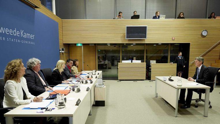 Maarten Spaargaren, Directeur Bedrijfs- en productontwikkeling NS, gisteren tijdens de openbare verhoren van de parlementaire enquetecommissie Fyra. Beeld anp