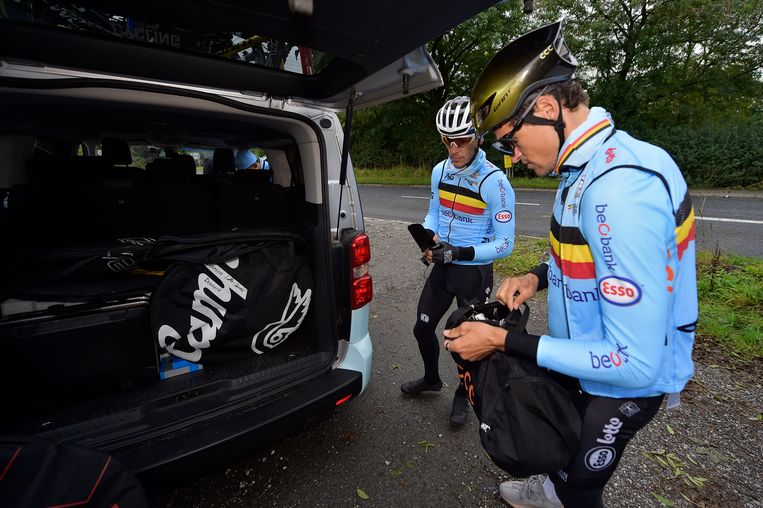 Belgian Philippe Gilbert and Belgian Greg Van Avermaet pictured before the start of a training session and track reconnaissance ahead of the UCI Road World Championships cycling in Harrogate, North Yorkshire, United Kingdom, Wednesday 25 September 2019. The Worlds are taking place from 21 to 29 September. BELGA PHOTO YORICK JANSENS