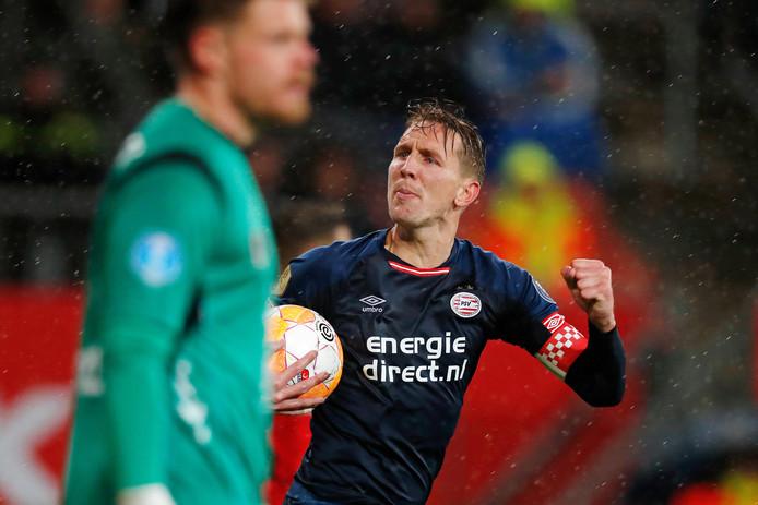 Luuk de Jong na de 2-1 voor PSV in Utrecht.