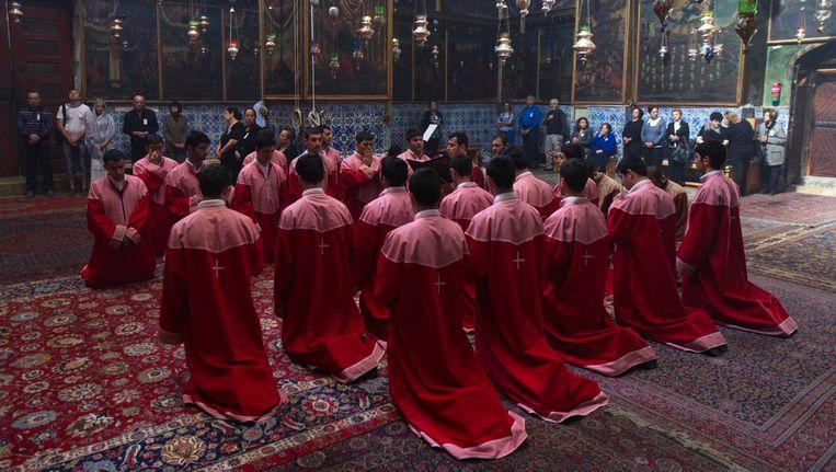 Armeense geestelijken tijdens een herdenking van de genocide in 2012.