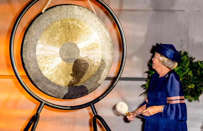Prinses Beatrix woont de opening bij van het opslaggebouw voor verarmd uranium bij de Centrale Organisatie Voor Radioactief Afval (COVRA).