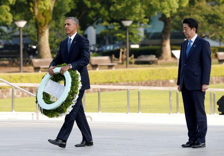Barack Obama en de Japanse premier Shinzo Abe in 2016.