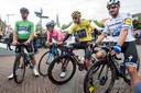 Volop vedetten aan de start ieder jaar in Etten-Leur. Hier v.l.n.r.: Peter Sagan, Giro-winnaar Richard Carapaz, Tour-winnaar Egan Bernal en sprintkoning Elia Viviani