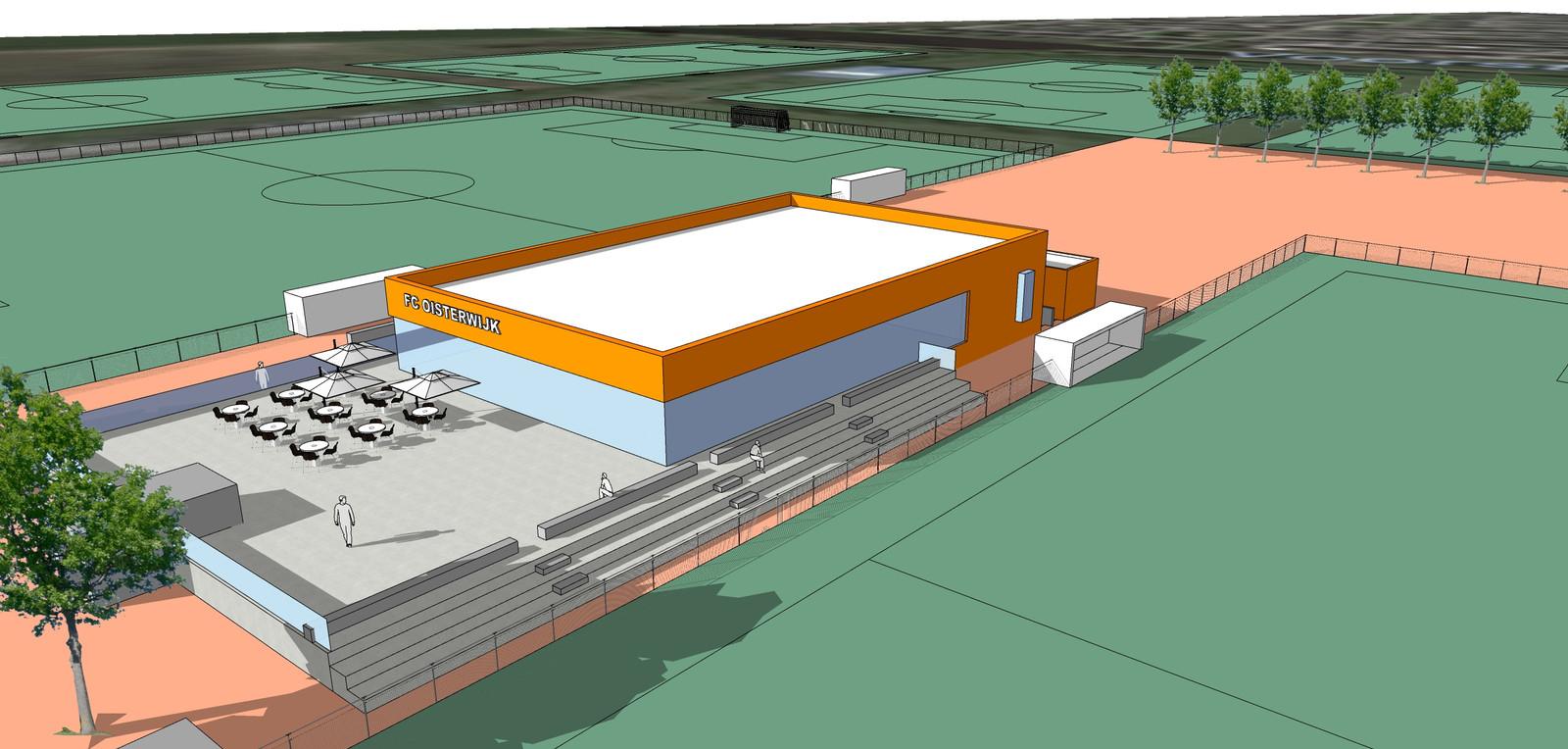 Impressie van de nieuwe voetbalaccommodatie voor 'FC Oisterwijk', werktitel voor de fusieclub van Oisterwijk, zoals opgenomen in het collegevoorstel aan de gemeenteraad.