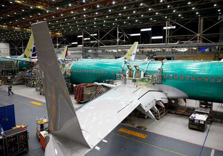 De productielijn van de Boeing 737 MAX, vandaag in de vliegtuigfabriek in Renton in de staat Washington.