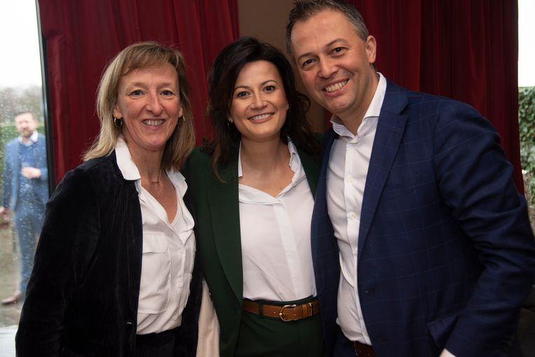 Egbert Lachaert met parlementslid Stefanie D'Hose en Elsie Sierens (burgemeester Destelbergen)