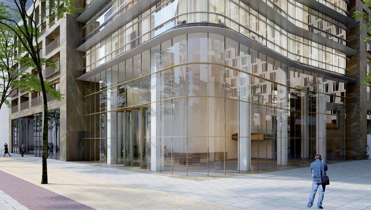 Impressie van de ingang van de nieuwe Zuidastoren The Beacon. Beeld Arcadis