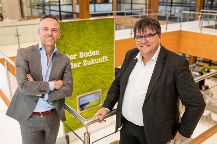 Maurice Beijk (Rechts, specialist duurzaamheid) en Gerben Bouwmeester (directeur) van Unipro