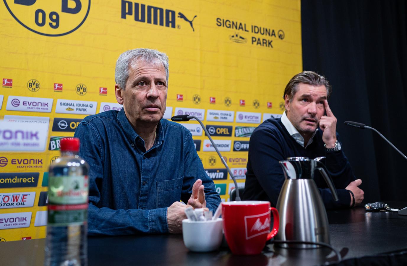 Lucien Favre en Michael Zorc (r)