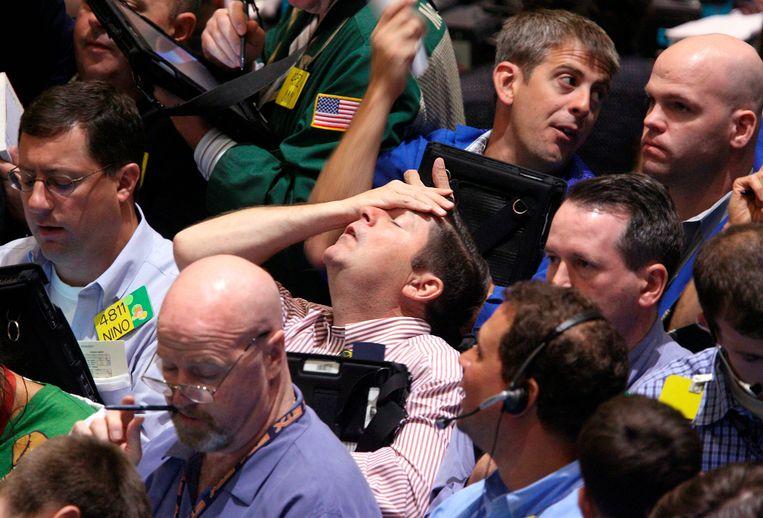 Paniek op de beurs in New York, 16 september 2008. Beeld AP
