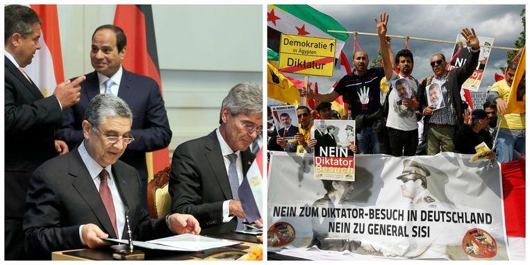 Links: al-Sisi tekent megadeal met Siemens. Rechts: protest tegen al-Sisi.