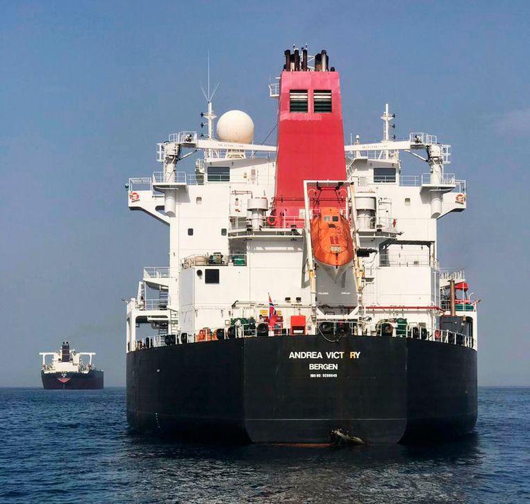 De Noorweegse olietanker MT Andrea Victory Beeld AP