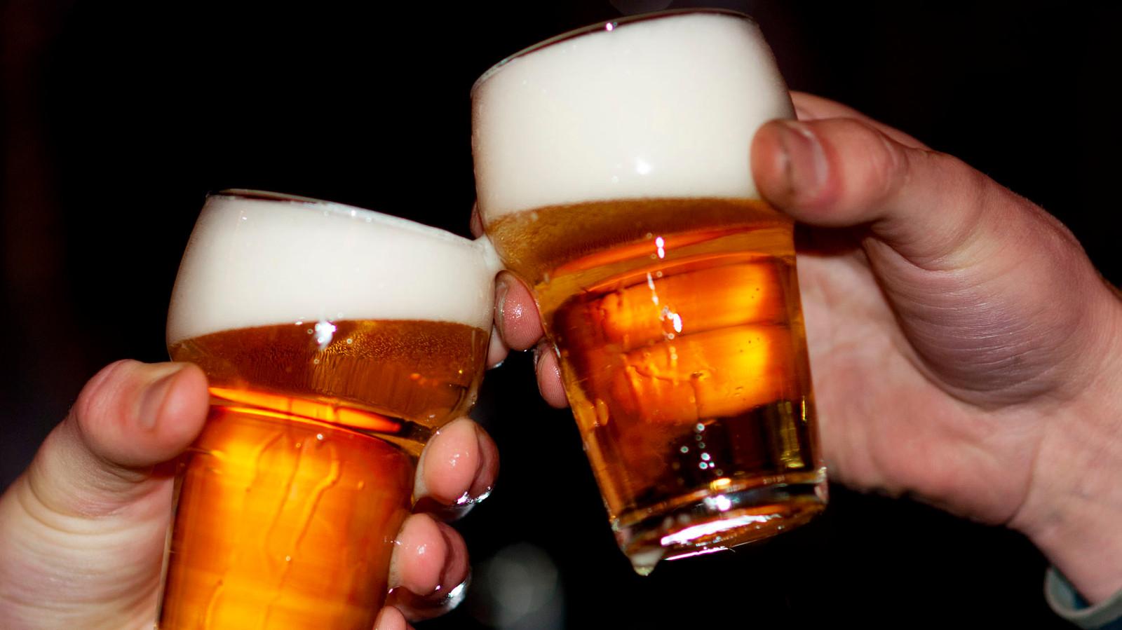 Twee mannen proosten met hun biertje.