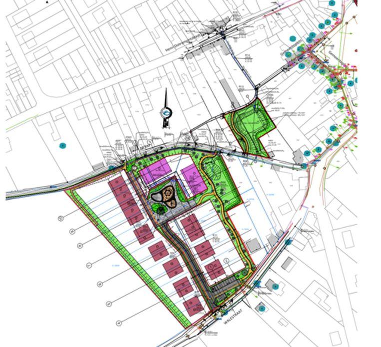 Het plan van de verkaveling opgesteld door Antea