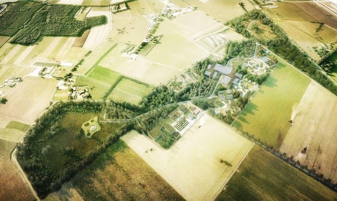 Landgoed De Groene Kamer, met rechtsboven Bredaseweg uit Voorlopig Ontwerk (2014)