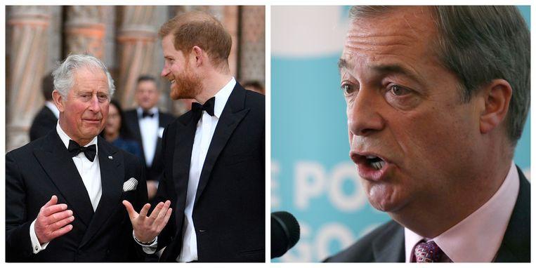 Nigel Farage (rechts) haalt flink uit naar het Britse koningshuis. Onder meer prins Charles en prins Harry moeten het ontgelden.