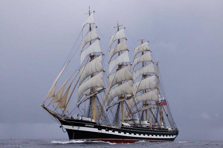 De Russische viermaster Kruzenshtern, het op één na grootste zeilschip ter wereld, was in ons land eerder al te bewonderen in Zeebrugge en Antwerpen.