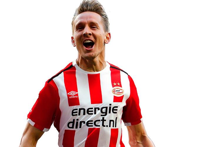 Luuk de Jong in het nieuwe thuis-shirt van PSV