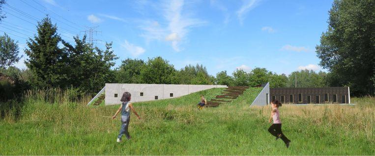 De nieuwbouw zal in het landschap opgaan in een soort centrale groene berm.