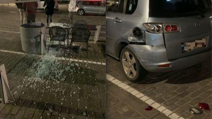 Dronken chauffeur vernielt terrasbeschutting, beschadigt geparkeerde wagens en slaat agent