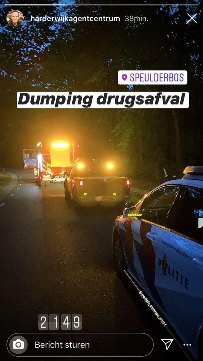 Dumping drugsafval, meldde een agent op Instagram.