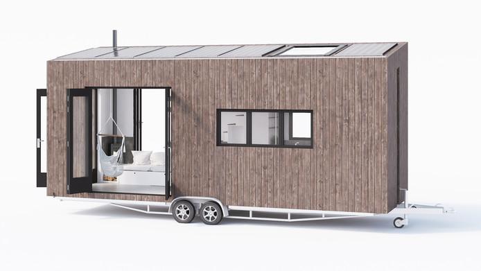 Een voorbeeld van een tiny house op wielen.