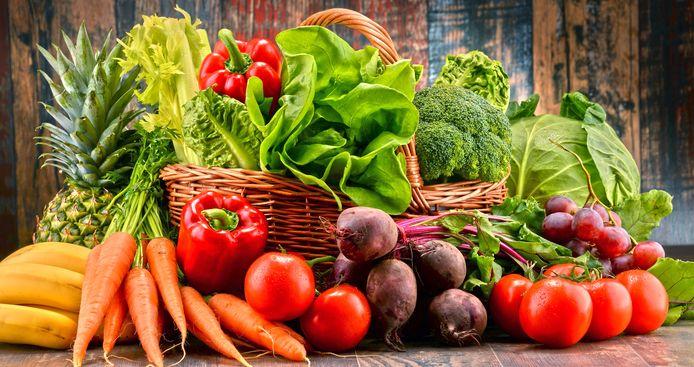Assortiment van verse groenten en fruit.