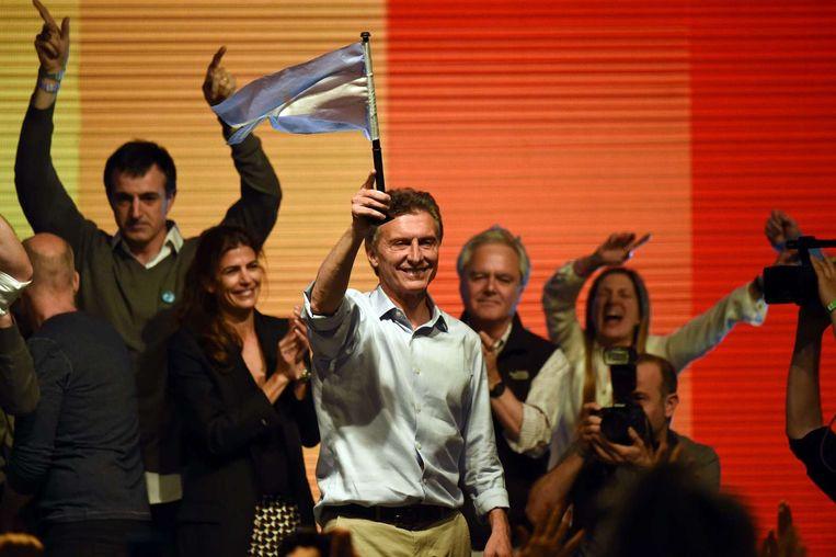 Mauricio Macri met de Argentijnse vlag Beeld afp