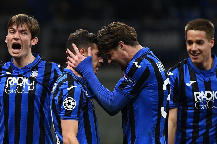 Vreugde bij de spelers van Atalanta bij de 4-0 zege op Valencia op 19 februari in San Siro, Milaan.