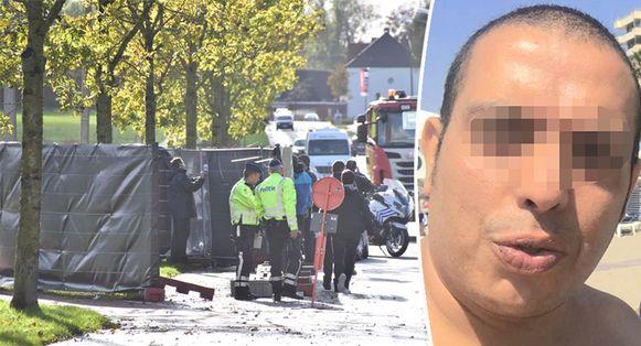 Op donderdag 7 november 2019 moest Ridouane O. (rechts) speurders en parket tonen hoe hij twee dagen voordien langs de Moeskroensesteenweg in Aalbeke zijn 36-jarige ex-partner om het leven bracht.
