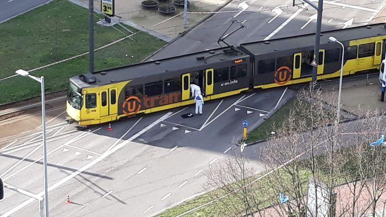 De tram op het 24 Oktoberplein in Utrecht. Beeld Ab Ketelaar