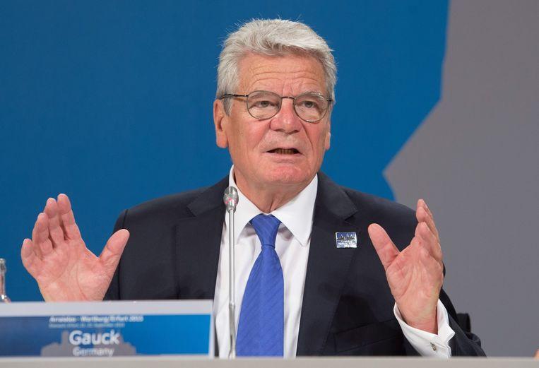 Joachim Gauck, zondag in Mainz zei hij dat 'er grenzen zijn aan de opname van vluchtelingen'. Beeld anp