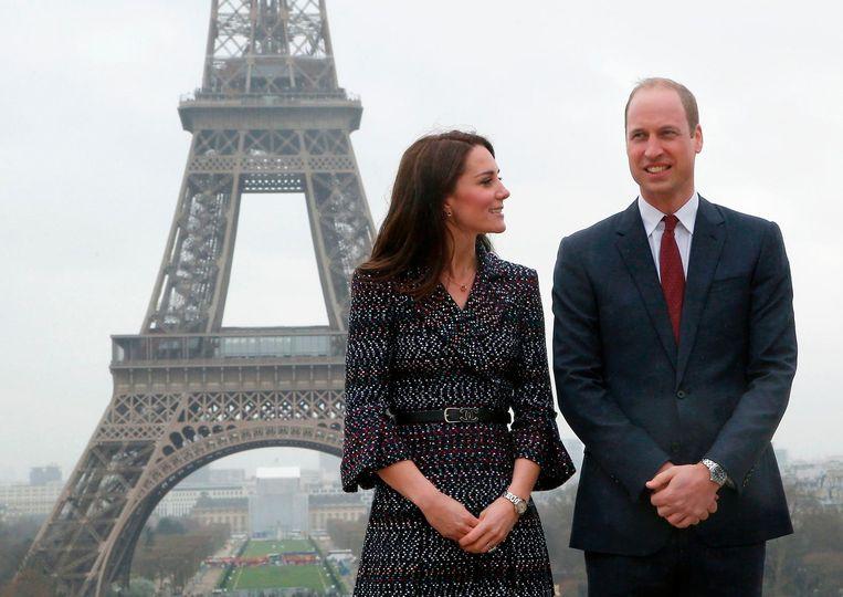 Prins William en zijn vrouw Kate in Parijs. Beeld afp