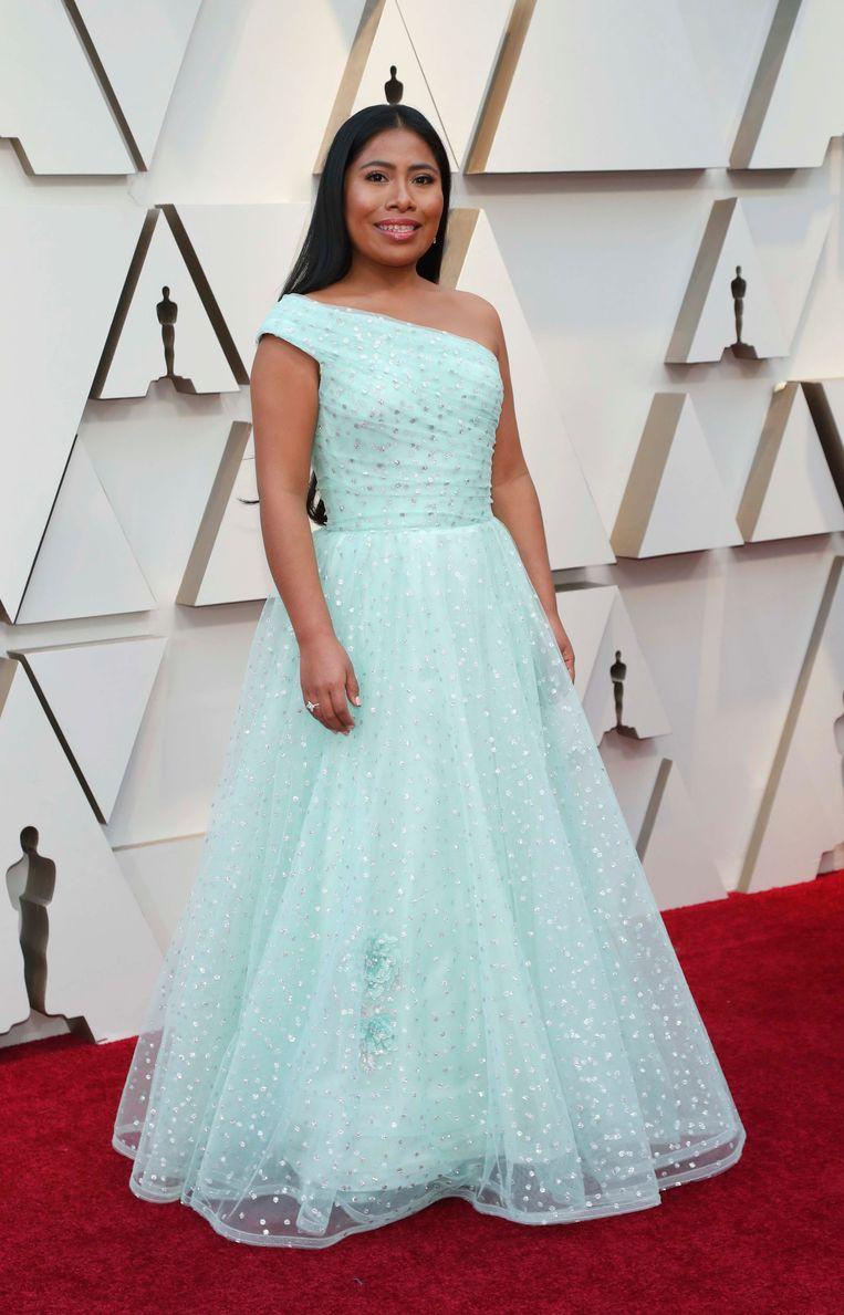 Yalitza Aparicio uit 'Roma', genomineerd voor 'beste actrice'.
