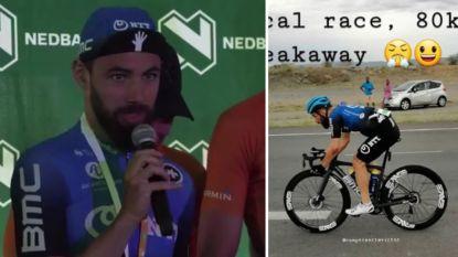 """De gekke dag van Campenaerts in Namibië, die wint na solo van 80 km en uitpakt met gulle geste: """"Mijn vader moest huilen toen hij het hoorde"""""""