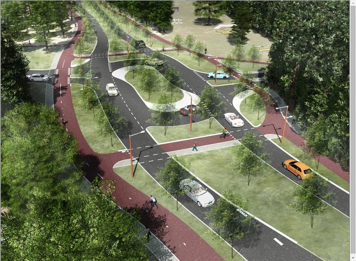 Impressie van de nieuwe Parklaan in Ede ter hoogte van de kazerneterreinen.