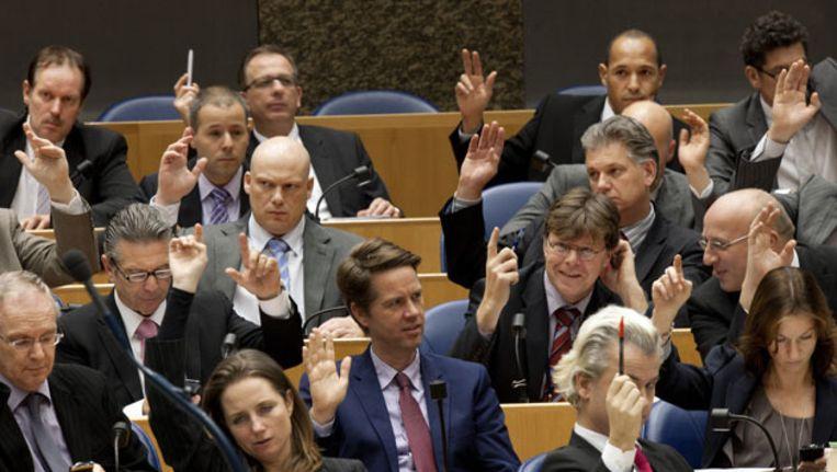 Een stemming in de Tweede Kamer Beeld null