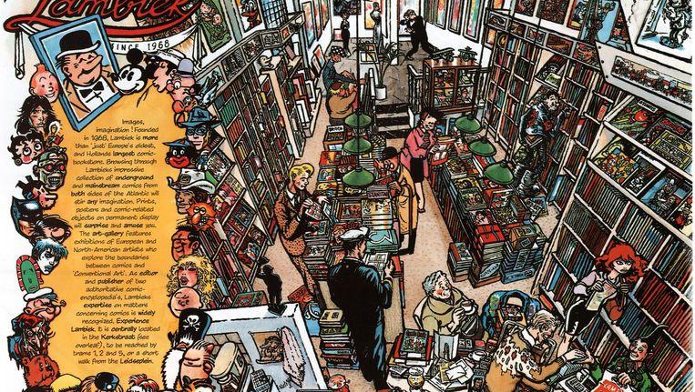 Het interieur van stripwinkel Lambiek in de Kerkstraat, in 1989 getekend door Peter Pontiac Beeld Peter Pontiac