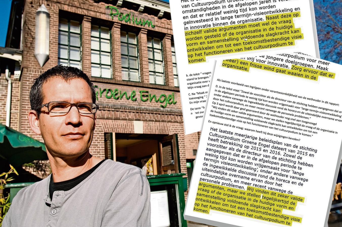 Het rapport van BMC, met geel gearceerd de passages die er op aandringen van de gemeente aan toegevoegd zijn. De strekking: hoog tijd voor een frisse wind door de Groene Engel.