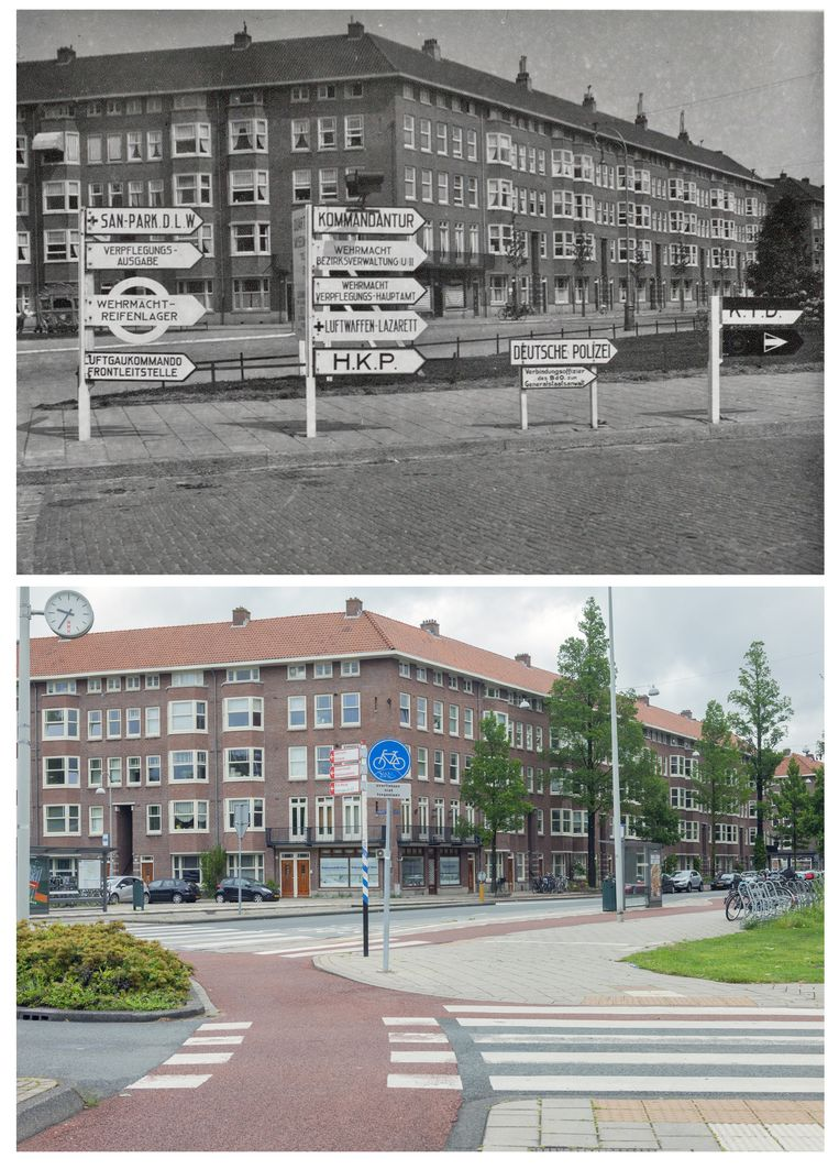 Aalsmeerplein in 1942 en in 2019. Beeld Erik Klein Wolterink