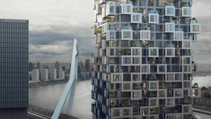 Met De Sax wordt de zuidzijde van de Rotterdamse Wilhelminapier volgebouwd. Het ontwerp van MVRDV is 'minder streng' dan de overige torens.