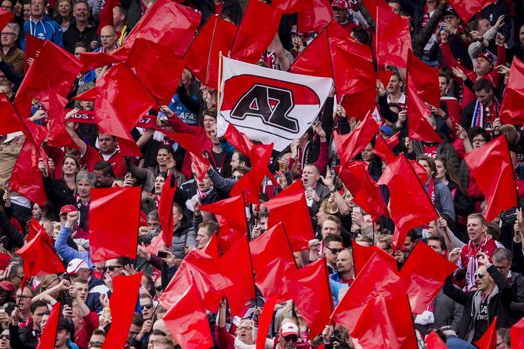 AZ-fans in de Kuip bij de bekerfinale tegen Vitesse. Beeld anp