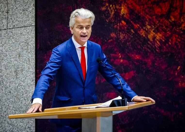 Geert Wilders (PVV) in de Tweede Kamer aan het woord tijdens de Algemene Politieke Beschouwingen, het debat na de troonrede op Prinsjesdag.  Beeld ANP