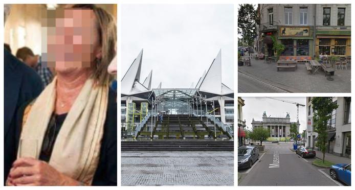 La juge Caroline M. photographié lors d'une réception. Au milieu: le palais de justice d'Anvers. En haut à droite: dans la Museumstraat, la juge a percuté un conteneur. En bas à droite: dans la Graaf Van Hoornestraat schampte, elle a percuté deux voitures en stationnement.