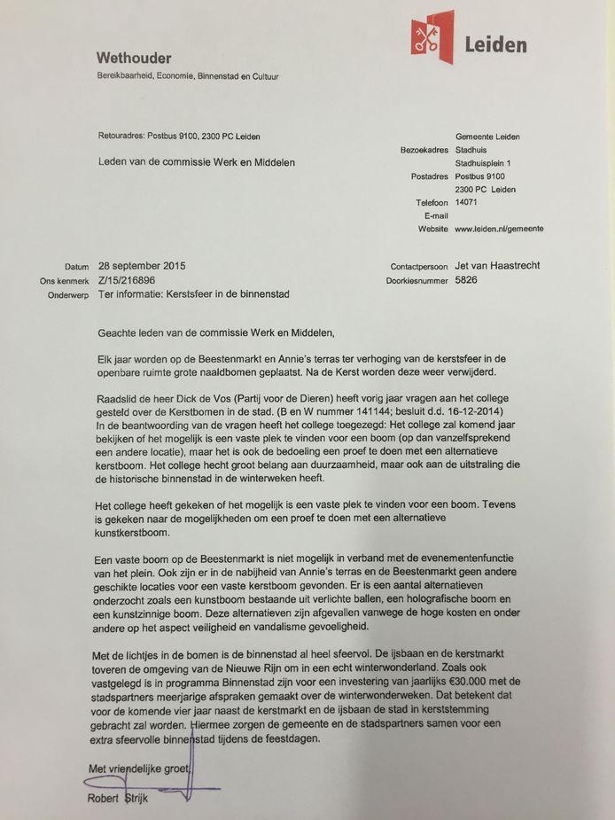 De brief van wethouder Robert Strijk. Dat de kerstboom geschrapt wordt, staat er niet duidelijk in.