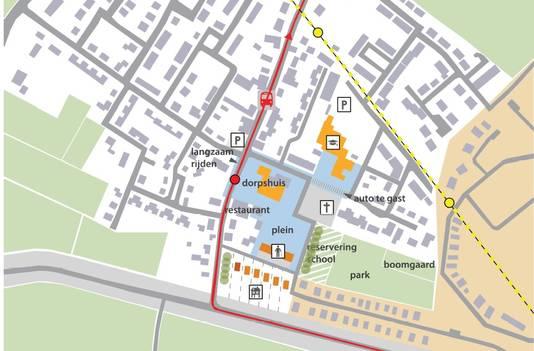Plattegrond van de volgens de dorpsraad kansrijkste variant.